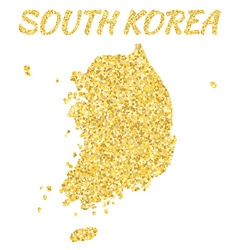 Map of SOUTH KOREA in golden With gold yellow vector