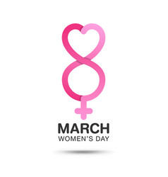 march 8 womens day typographic on pink vector image