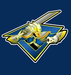 monkey sword mascot logo image vector image