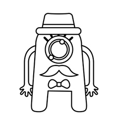 Monster comic character with hipster style icon vector