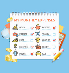 Monthly expenses realistic detailed 3d concept vector