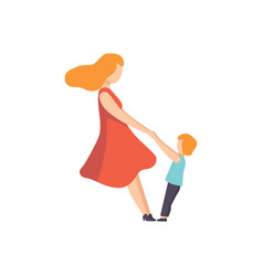 Mother holding her son by hands mom playing with vector