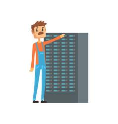 Network engineer administrator working vector