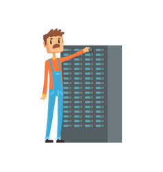 network engineer administrator working with vector image