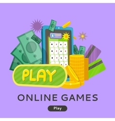 Online Games Web Banner Isolated with Play Button vector image