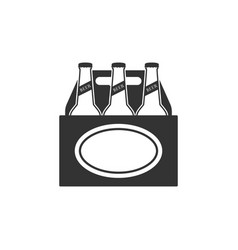 pack beer bottles icon isolated case crate vector image