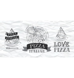 Pizza logo Paper vector