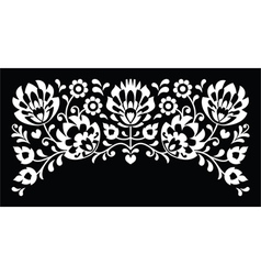 Polish floral folk white embroidery pattern vector image