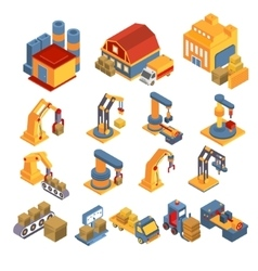Production and Delivery Isometric Set vector
