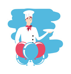 Professional chef worker with balloons helium vector