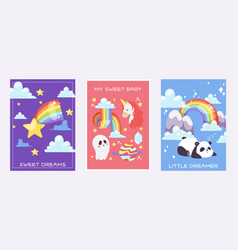Rainbow dreams cards bright colorful sky with vector