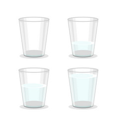 realistic detailed 3d glass water set vector image