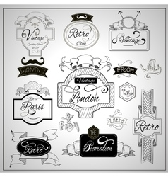 Retro design catchwords elements on whiteboard vector