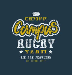 rugby campus team badge with shabby texture vector image