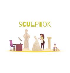 Sculptor concept vector