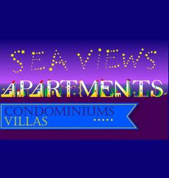 Sea views apartments condominiums villas vector