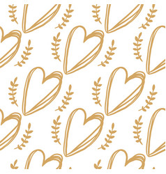 seamless pattern from golden hearts vector image