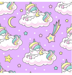 seamless pattern rainbow unicorn on a cloud for vector image