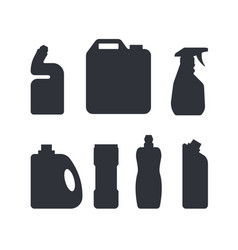 set cleaning tools in monochrome color vector image