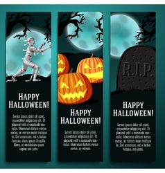set halloween banners with mummy jack o lantern vector image