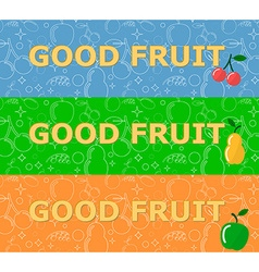 Set of horizontal banners with fruits on bright vector image