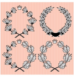 Set of wreath of laurel and oak leaves vector