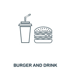 simple outline burger and drink icon pixel vector image