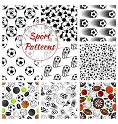 Sporting ball items and trophy seamless pattern vector image