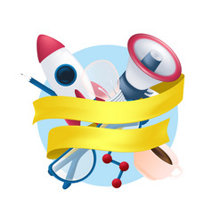 stationery items set with flying rocket science vector image