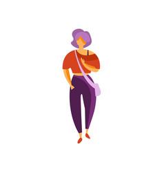 stylish girl wearing pants and blouse elegant vector image