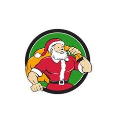 Super Santa Claus Carrying Sack Circle Cartoon vector image