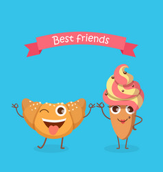 Sweets best friends smiling croissant and cake vector