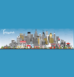 taiwan city skyline with gray buildings and blue vector image