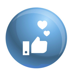 thumb up heart icon simple style vector image
