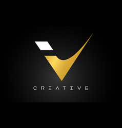 V golden letter logo with creative modern look vector