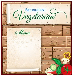 Vegetarian menu on wood background vector