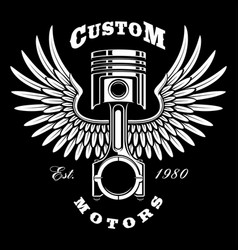 Vintage piston with wings on dark background vector