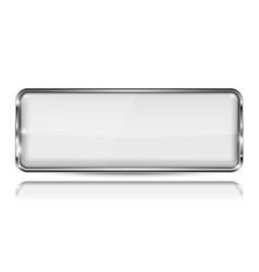 White glass 3d button with metal frame rectangle vector