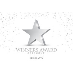 winner award silver star 3d symbol vector image