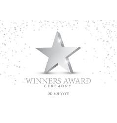 winner award silver star 3d symbol vector image