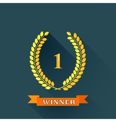 with laurel wreaths in flat design with long vector image vector image