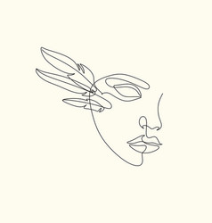 Womans head with wings one line drawing art vector
