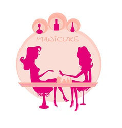 Young lady silhouette doing manicure in beauty vector image vector image