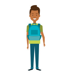 Young man with school bag avatar character vector