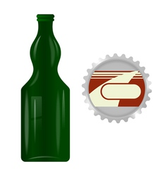 Glass bottle with a metal cap vector image vector image