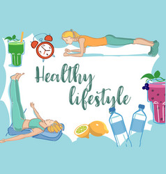 healthy lifestyle elements frame card vector image