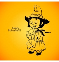 Little girl little witch detains disgruntled cat vector image vector image