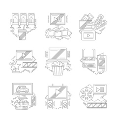 Movie and cinema detailed line icons vector image vector image