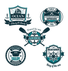 nautical heraldic icons of seafarer sailing vector image