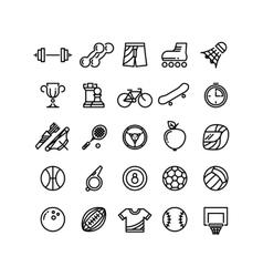 Sports outline symbols equipment thin line vector image